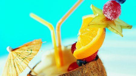 cocktail, umbrella, fruit