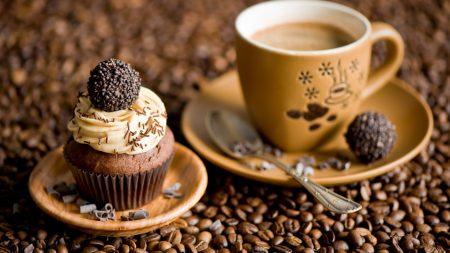 coffee, coffee beans, cupcake