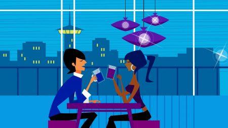 couple, cafe, entertainment