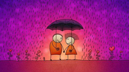 couple, umbrella, love