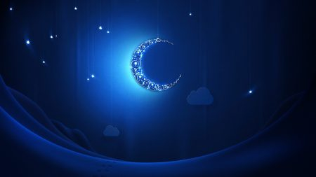 crescent moon, light, shiny