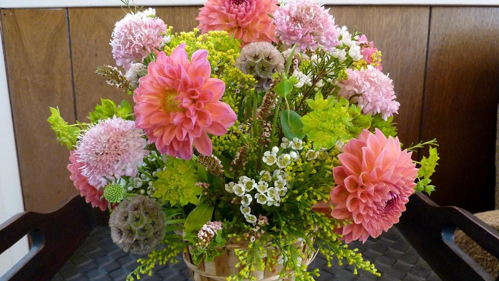 Download Wallpaper 1920x1080 dahlias, flowers, bouquets, composition ...