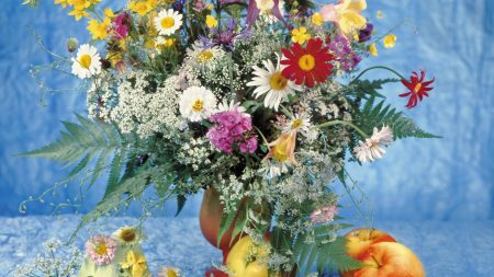 daisies, vase, table