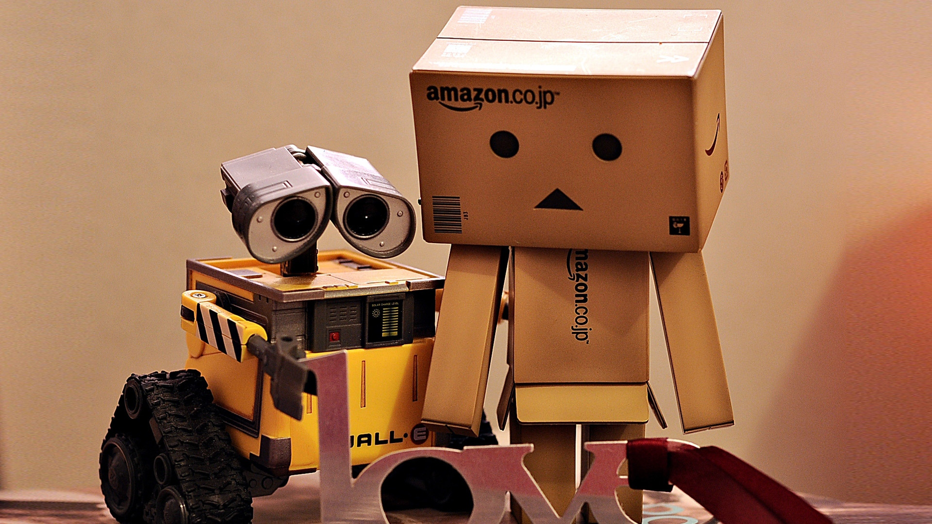 download wallpaper 1920x1080 danboard, wall-e, boxes, robots, couple