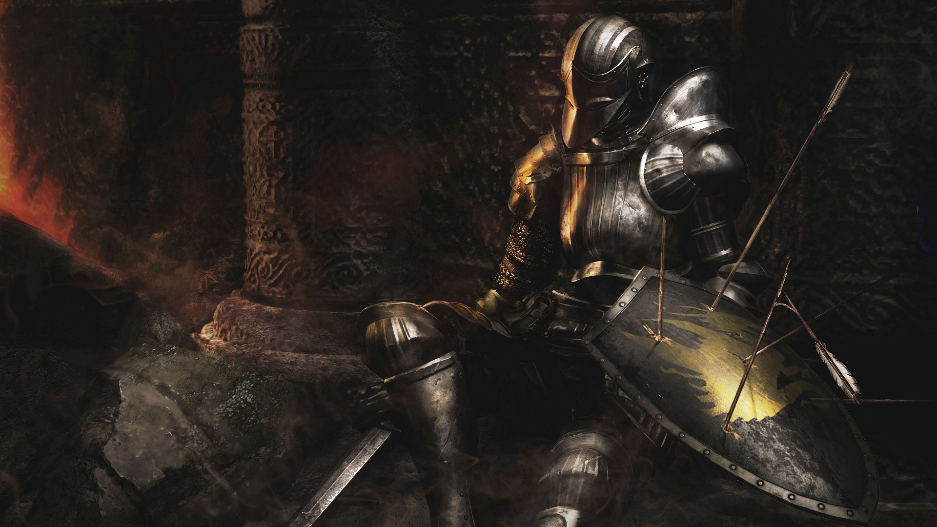 Download wallpaper 1920x1080 dark souls armor shiled arrows dark souls armor shiled voltagebd Images