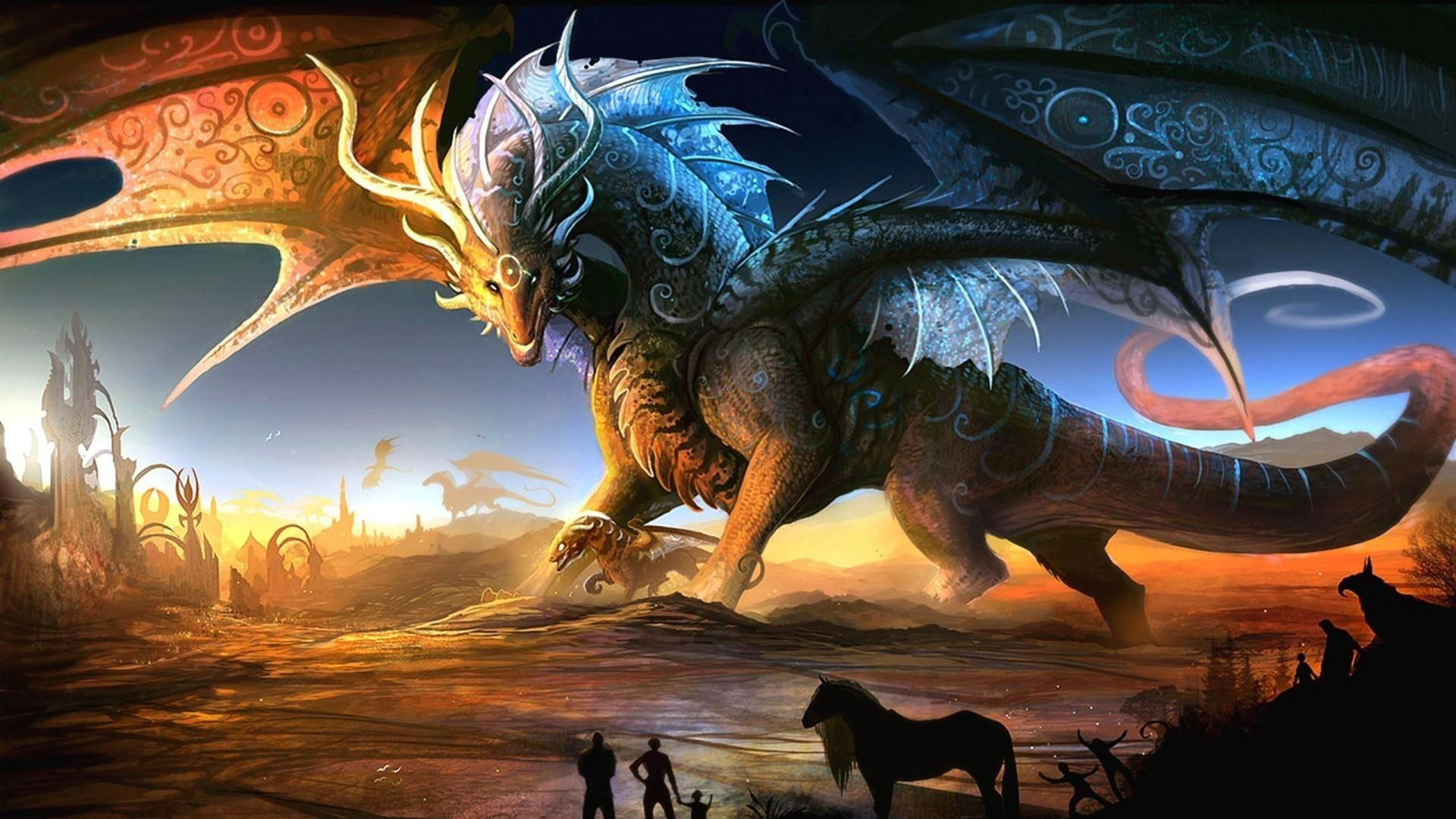 Magical Fantasy Hd Wallpapers That Will Take Your Breathe: Download Wallpaper 1920x1080 Dragons, Mother, Cub, People