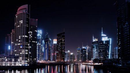 dubai, city, lights