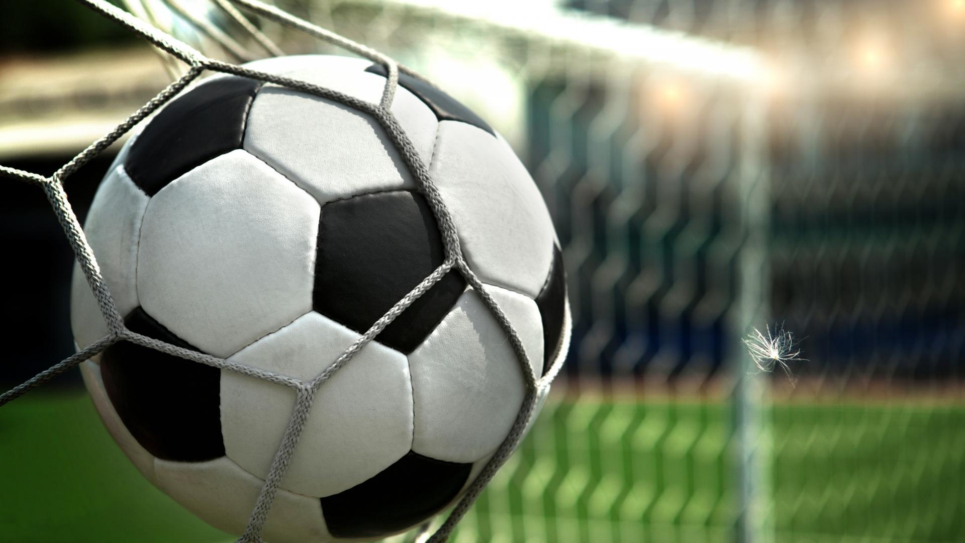 Download Wallpaper 1920x1080 Feather Football Goal Ball Net Full