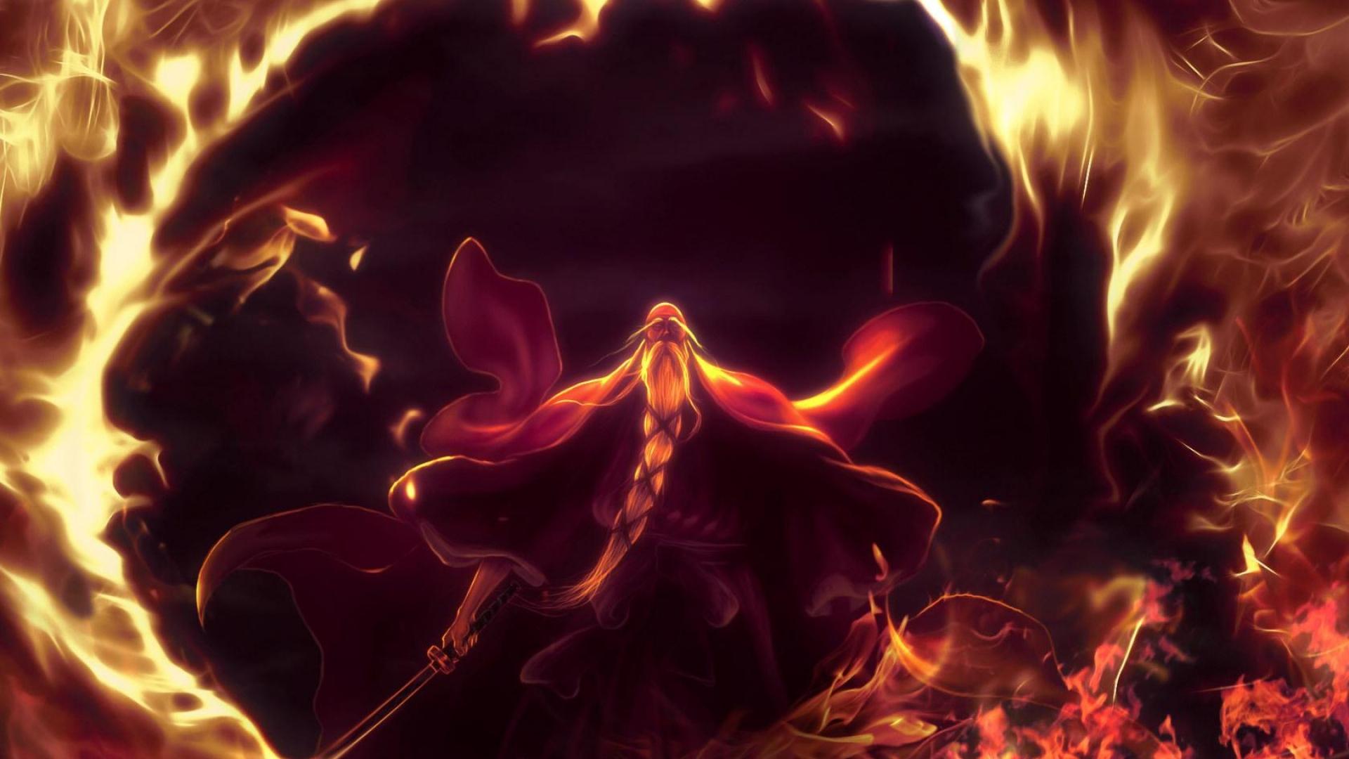 download wallpaper 1920x1080 fire, flame, sword, old man, magician