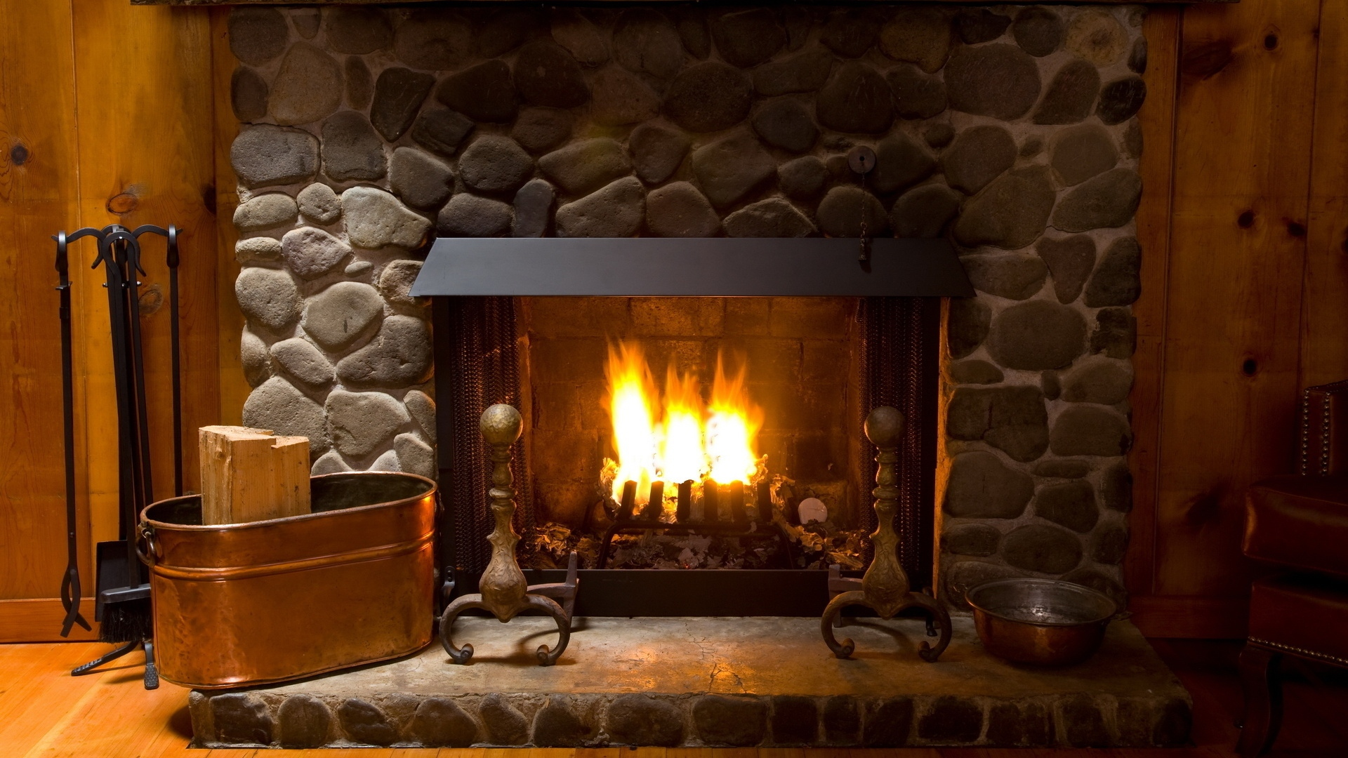 Download Wallpaper 1920x1080 fireplace, cozy, interior, lamp Full ...