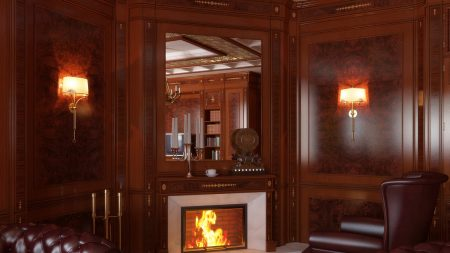 fireplace, mirror, chair