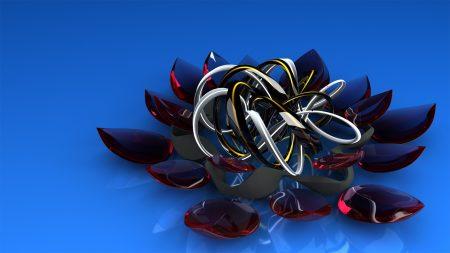 Download Wallpaper 1920x1080 Metal Glass Flower Shape Smooth