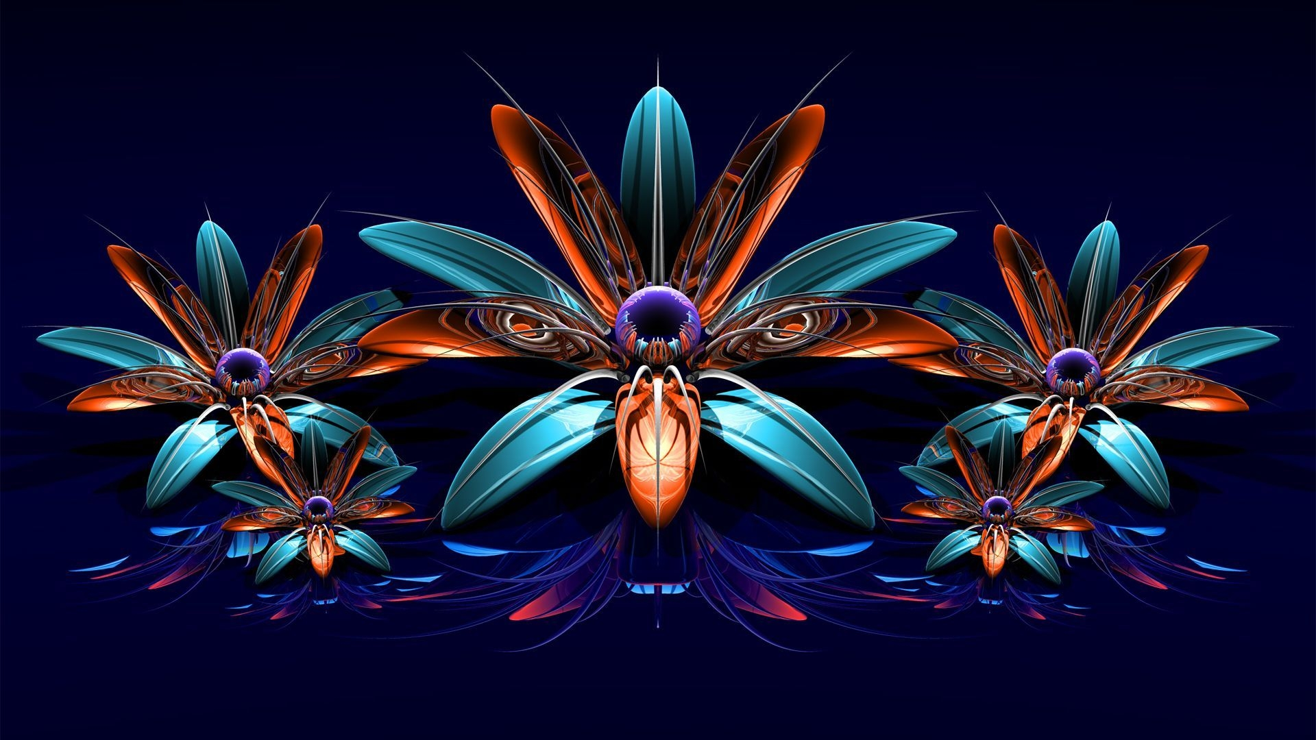 Download Wallpaper 1920x1080 Flowers Fractal Bouquet Full HD 1080p