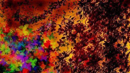 flowers, leaves, butterflies