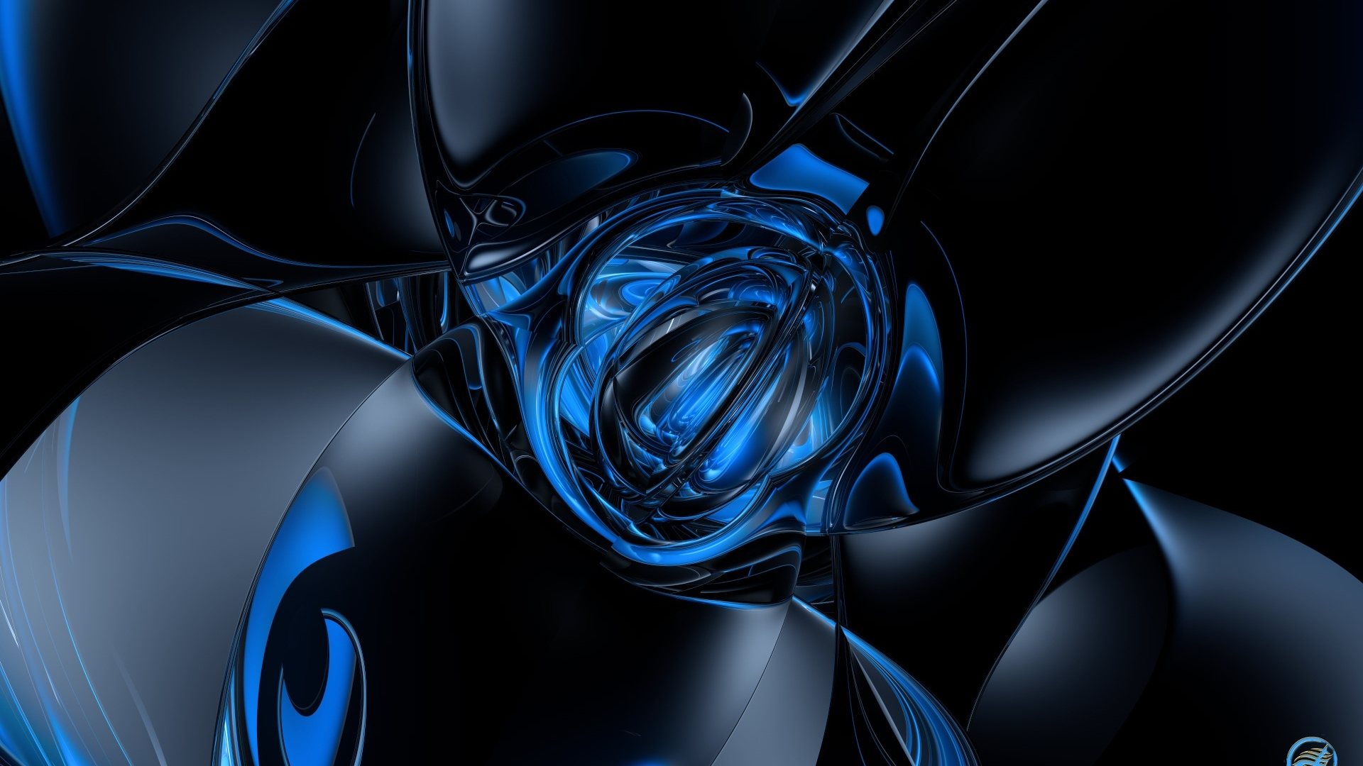 Download Wallpaper 1920x1080 Form Shape Blue Black Full HD 1080p