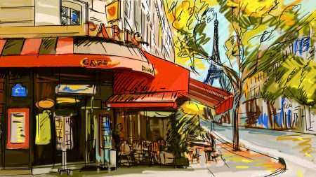 france, cafe, picture