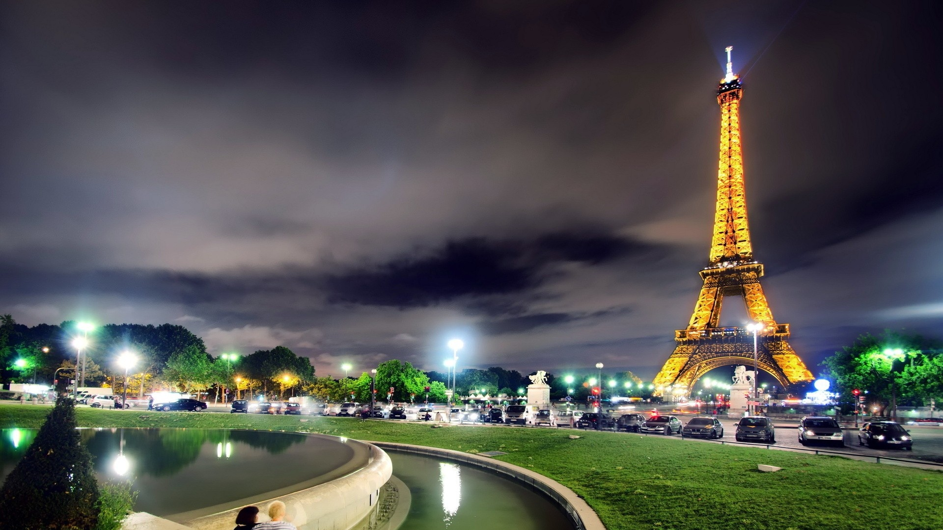 download wallpaper 1920x1080 france, paris, eiffel tower, light
