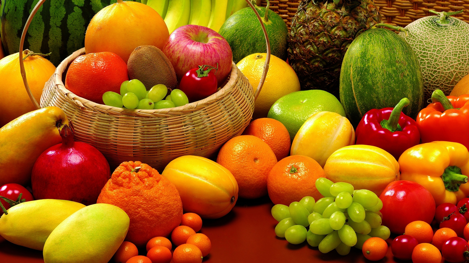 Download Wallpaper 1920x1080 Fruit Allsorts Pineapple Melon