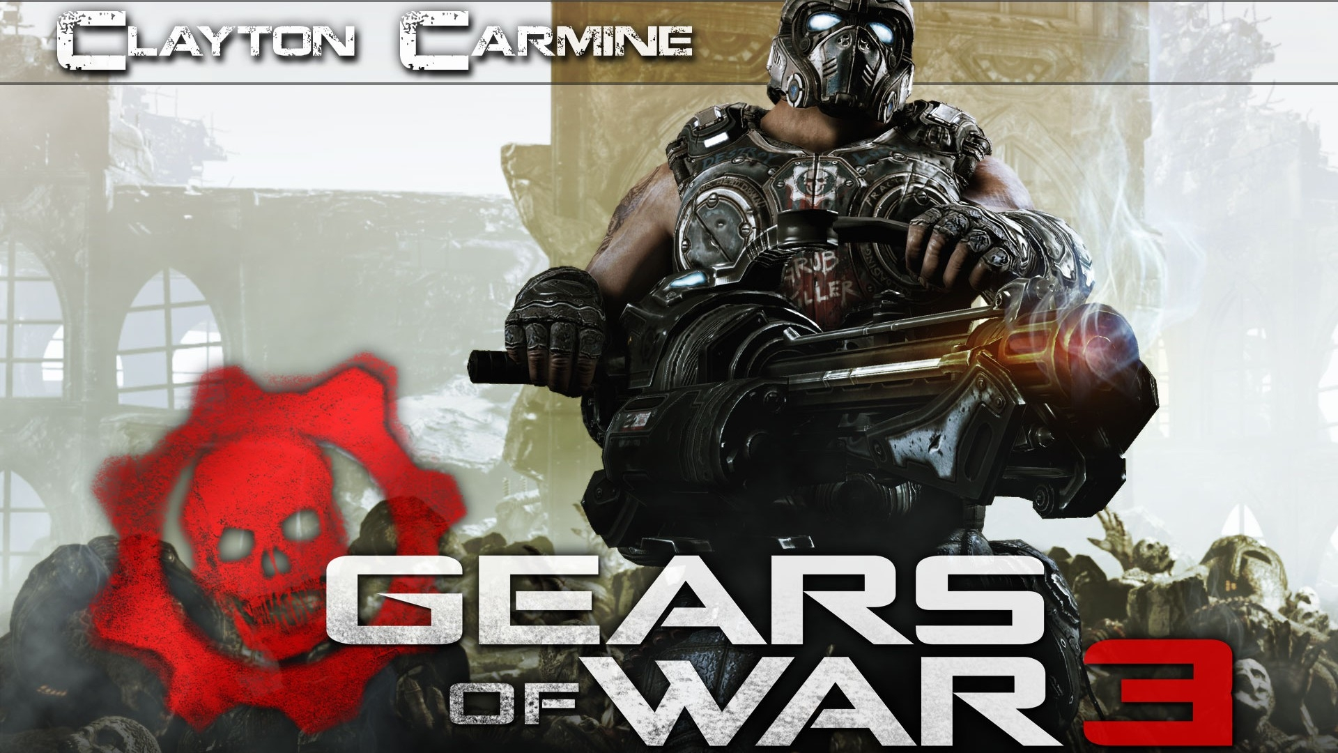 Download wallpaper 1920x1080 gears of war 3 clayton carmine gun skull helmet full hd 1080p - Gears of war carmine wallpaper ...