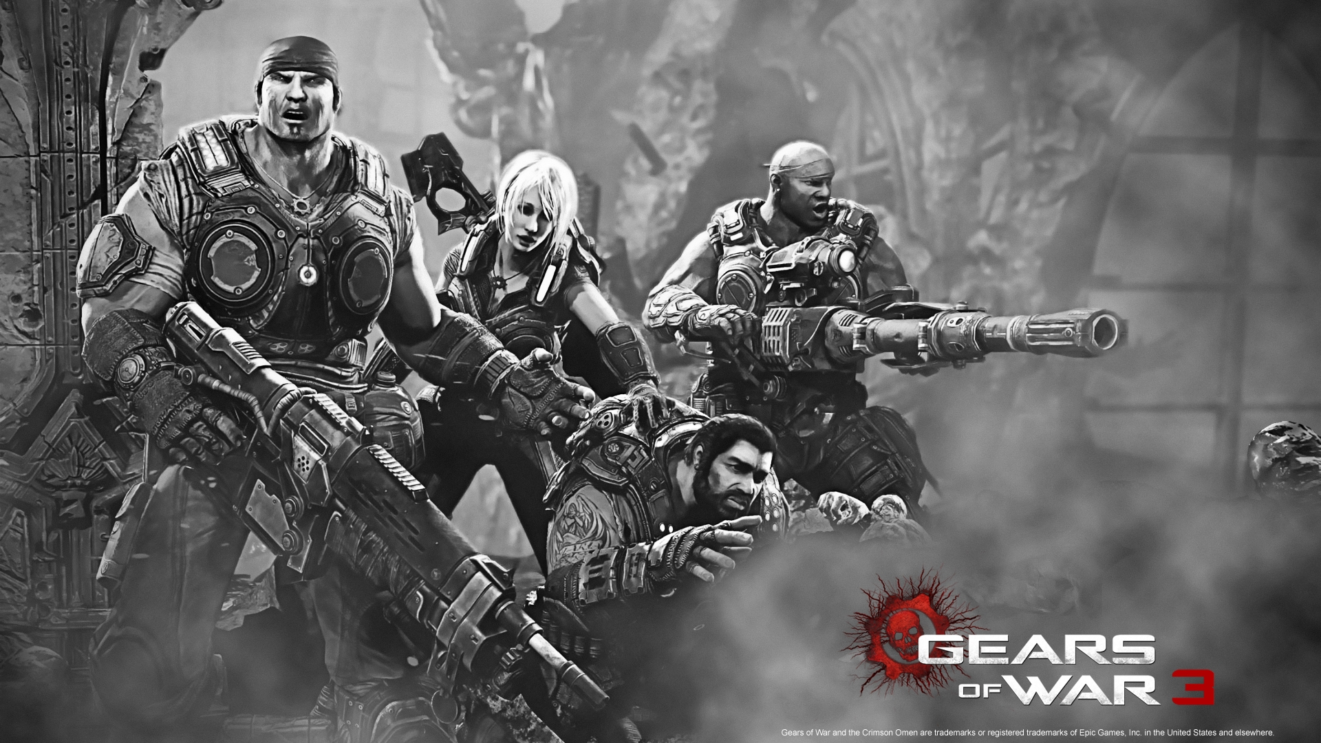 Download Wallpaper 1920x1080 Gears Of War 3, Gun, Girl