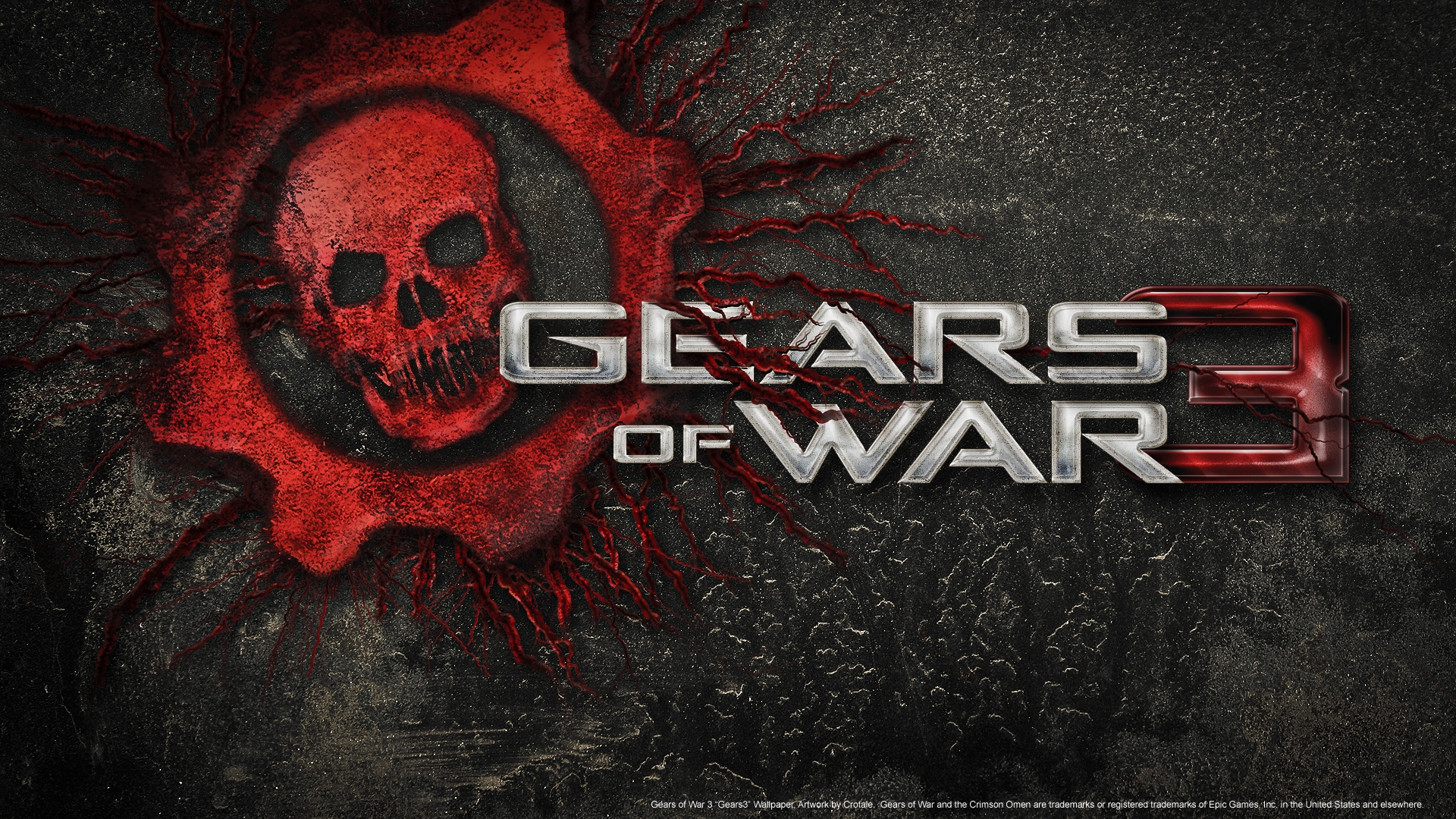 Download Wallpaper 1920x1080 Gears Of War 3, Skull, Font
