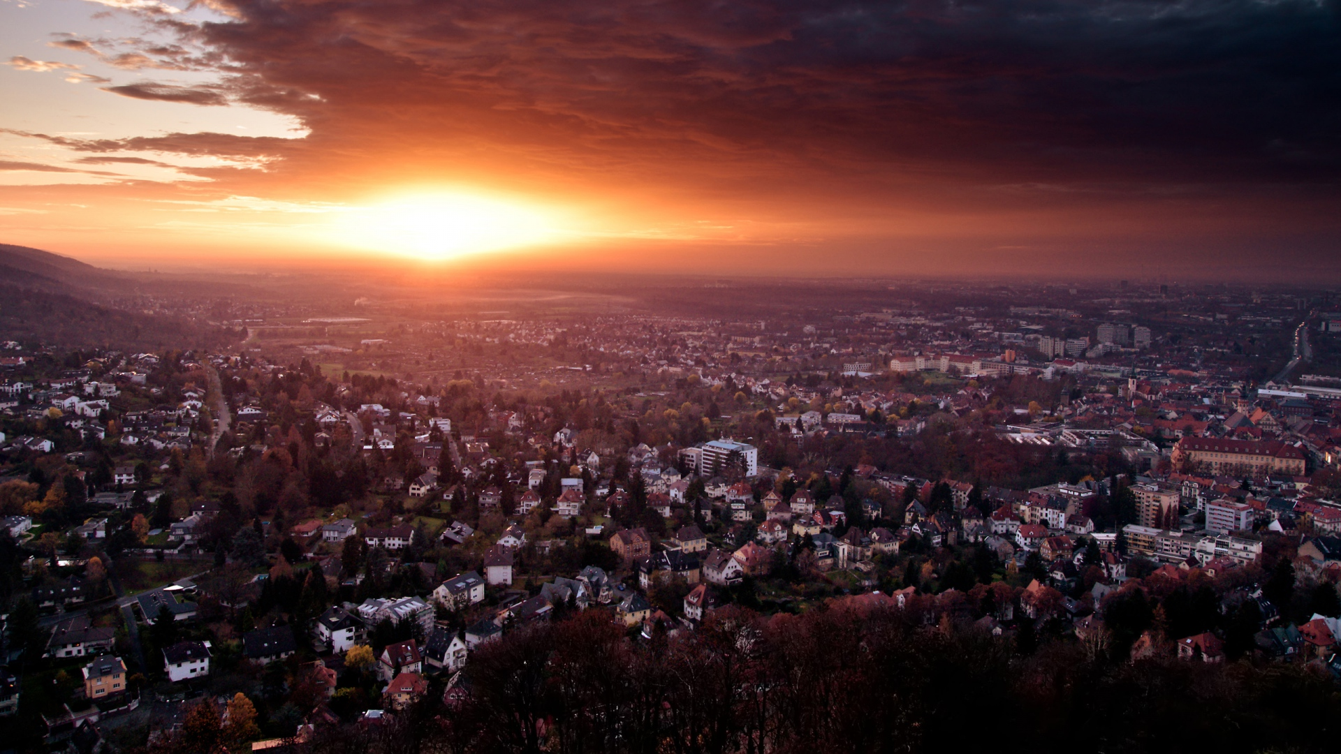 Download Wallpaper 1920x1080 Germany Sunset City End Of Day Full