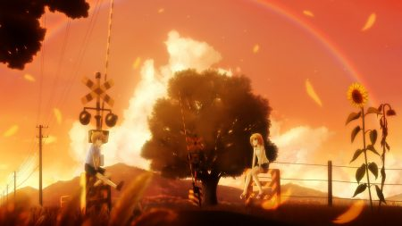 girl, boy, rainbow