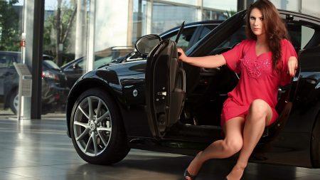 girl, brunette, car