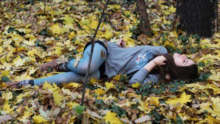 girl, brunette, leaves