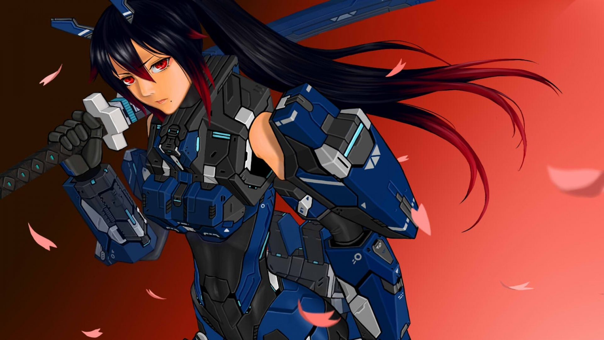 download wallpaper 1920x1080 girl, brunette, robot, iron, hand