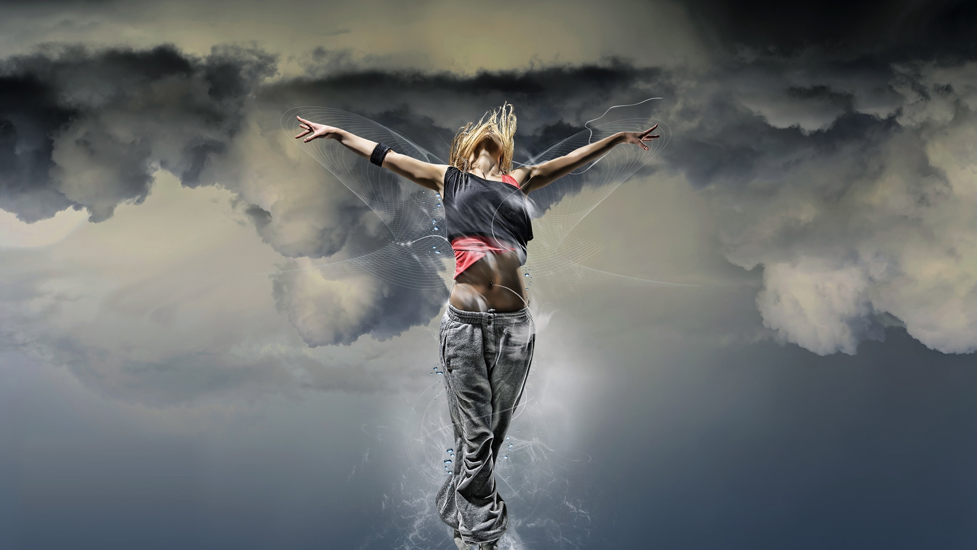 download wallpaper 1920x1080 girl, dance, fly, sky, clouds full hd