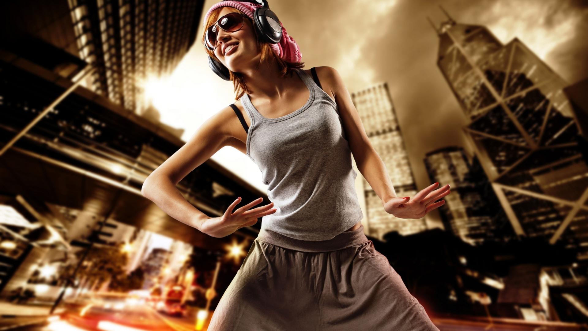 download wallpaper 1920x1080 girl, dance, headphones, clothing
