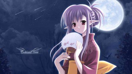 girl, elf kimono, fan
