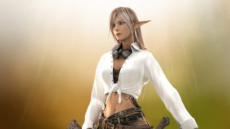 girl, elf, weapon