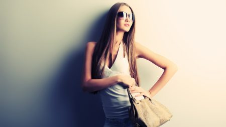 girl, glasses, bag