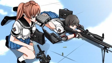 girl, guns, target
