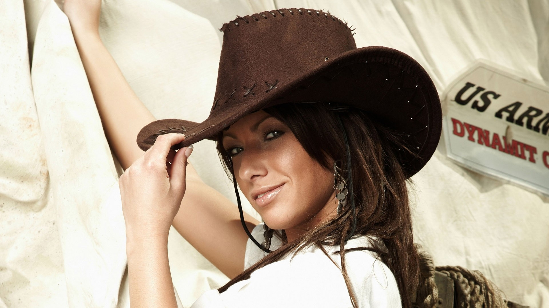 download wallpaper 1920x1080 girl hat cowboy face