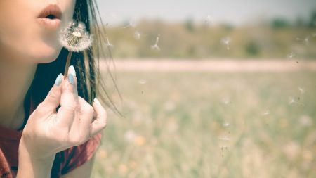 girl, lips, dandelion
