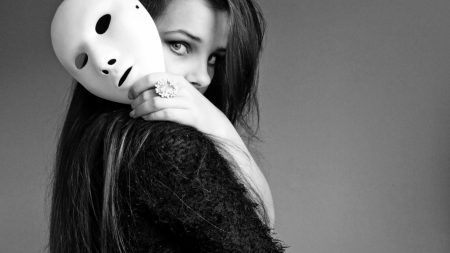 girl, mask, face