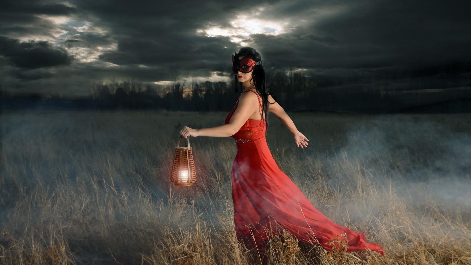 Download Wallpaper 1920x1080 girl, mask, field, lamp, fog Full HD ... for Girl With Lamp Wallpaper  66pct
