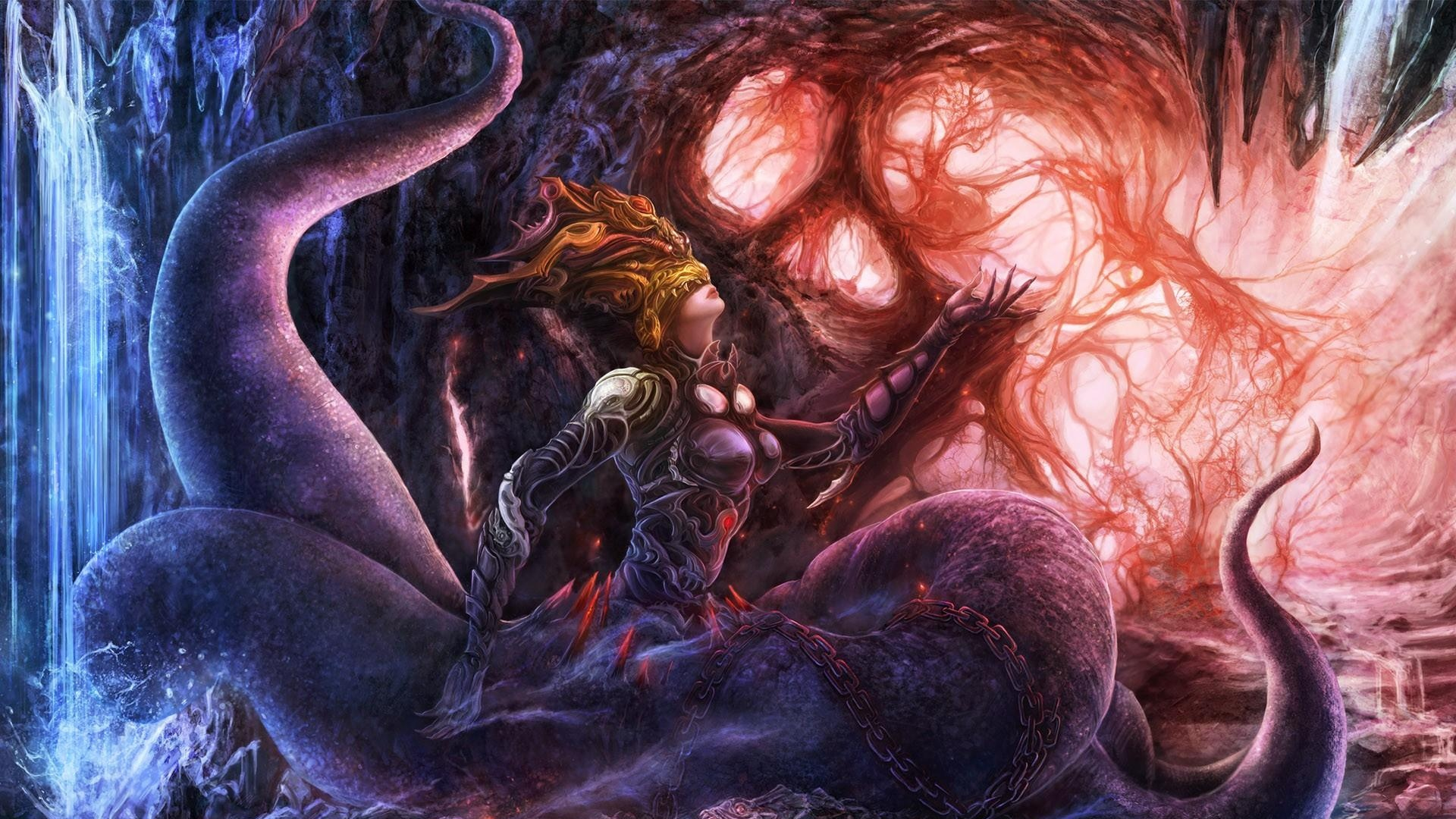 download wallpaper 1920x1080 girl, monster, tentacles, chain, cave