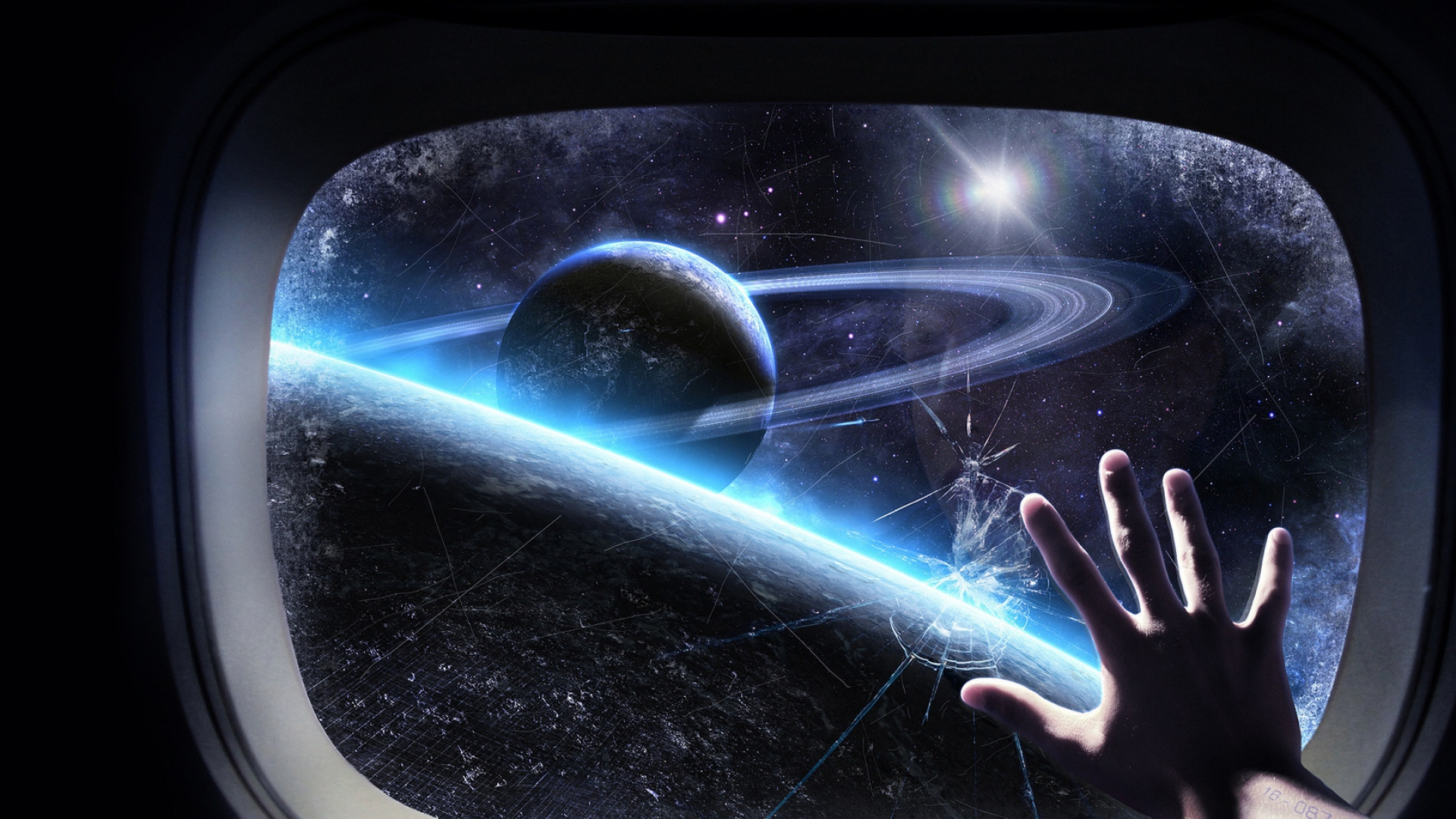 Download Wallpaper 1920x1080 Glass Craft Hand Space Planet Orbit Full HD 1080p Background