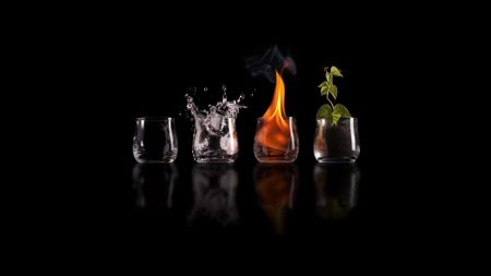 glasses, fire, water