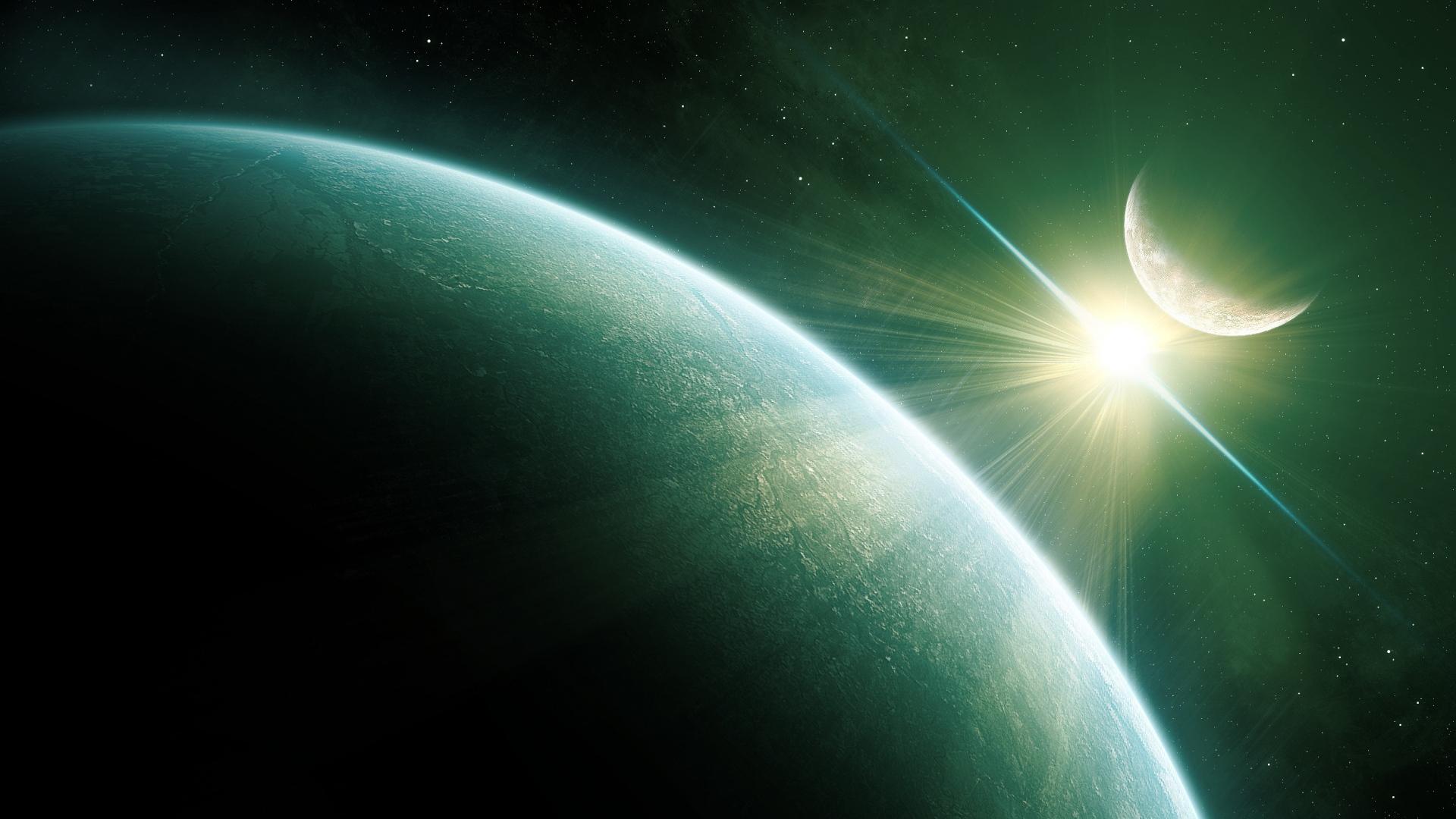 download wallpaper 1920x1080 green planet, light, sun, sky, space