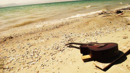 guitar, beach, coast