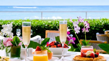 hawaii, table, wine