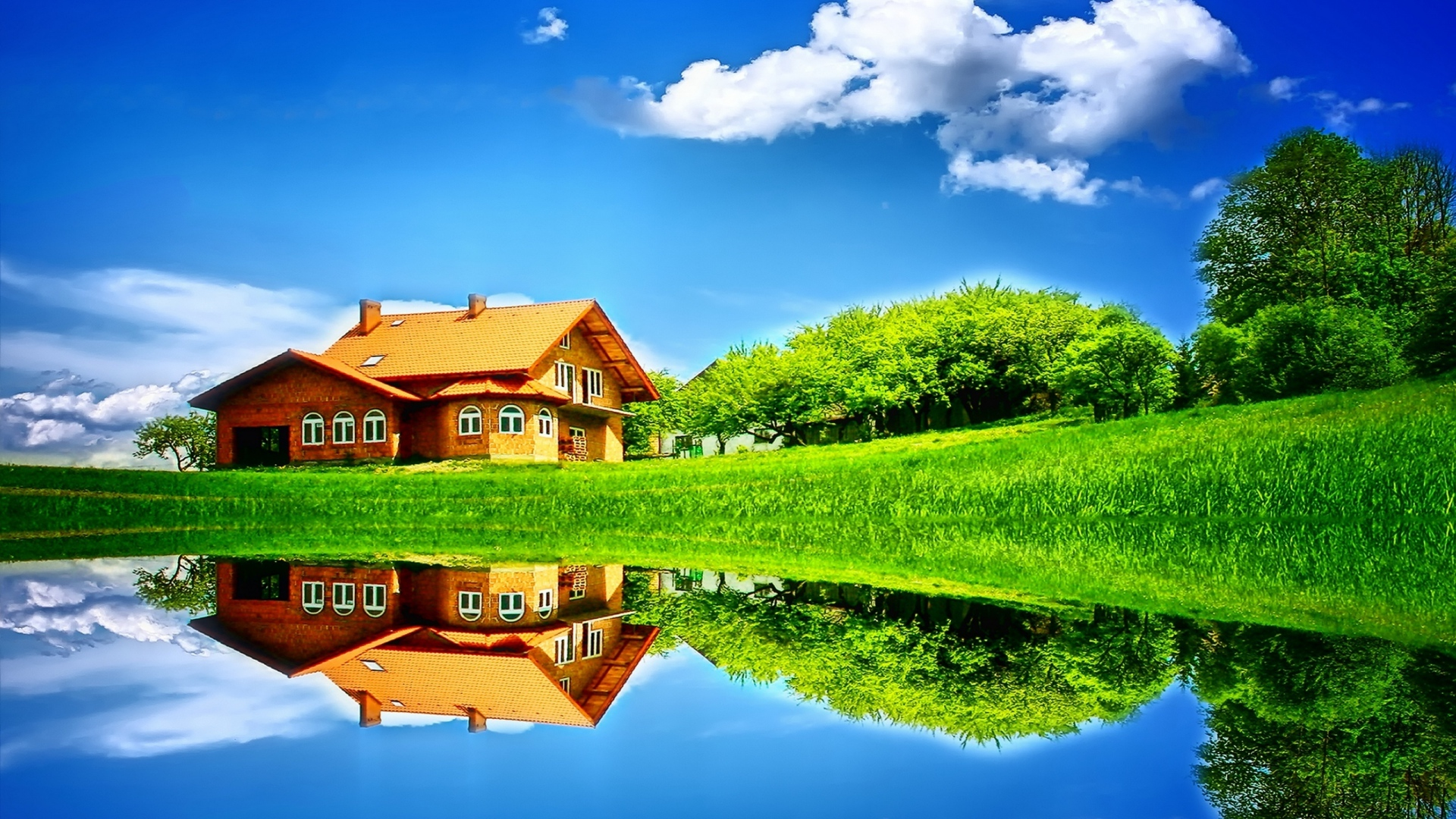 download wallpaper 1920x1080 house, meadow, glade, pond, green