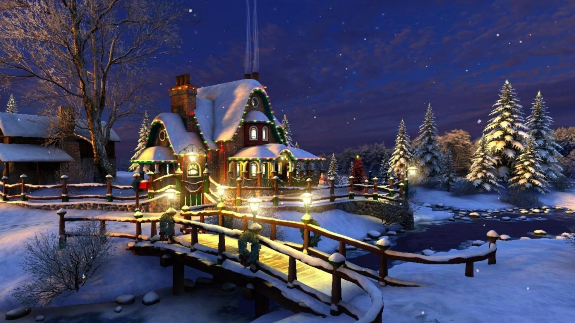 Great Wallpaper Night House - house_night_trees_snow_river_bridge_68909_1920x1080  Best Photo Reference-816325.jpg