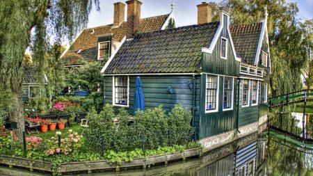 house, river, grass