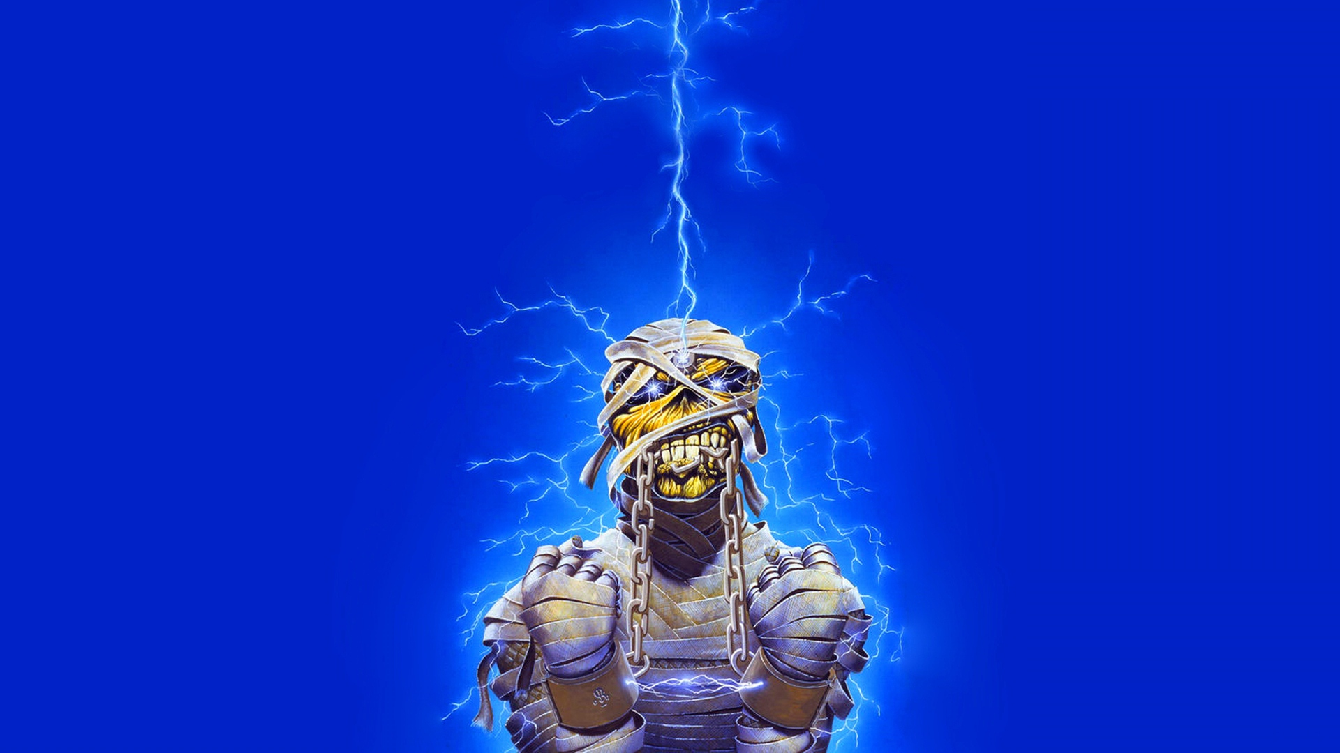download wallpaper 1920x1080 iron maiden, undead, lightning, energy
